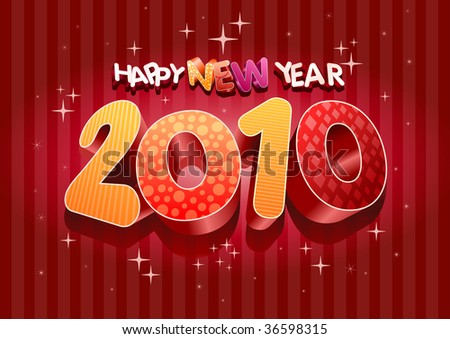 2010 new year composition. 3d vector design. All elements are layered separately in vector file. - stock vector