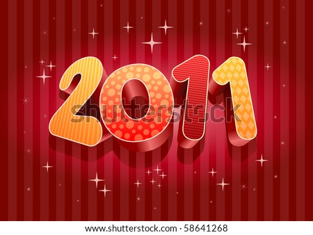 2011 new year composition. 3d vector design. All elements are layered separately in vector file. - stock vector
