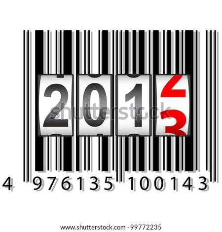 2013 New Year counter, barcode, vector. - stock vector
