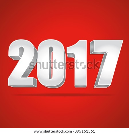 2017 New Year 3d silver numbers on a red background. Vector illustration. - stock vector