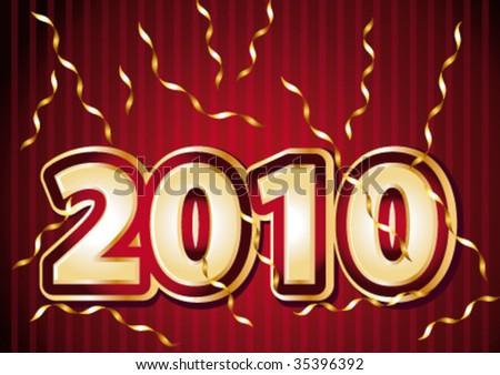 2010 New year festive illustration. Vector illustration. - stock vector