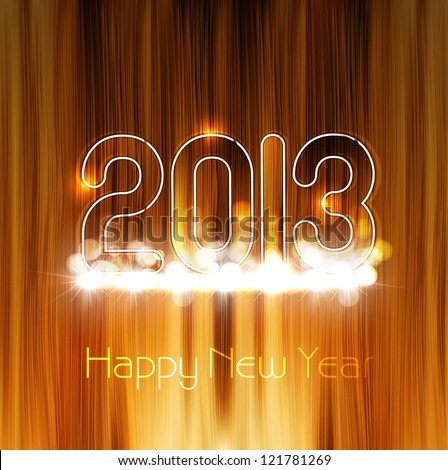 2013 new year glossy wood texture celebration colorful background - stock vector