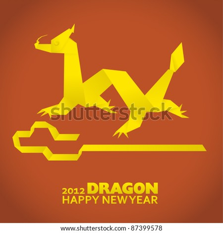 2012: New Year greeting card, year of the dragon - stock vector