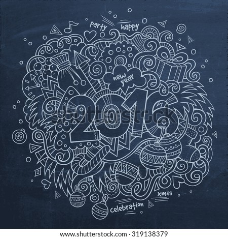 2016 New year hand lettering and doodles elements background. Vector chalkboard illustration - stock vector