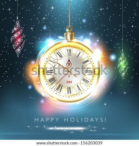 2014 new year. Happy Holidays. Stylish design. Beautiful, vintage clock shows 10 minutes to midnight time. Christmas card. Time to celebrate. Vector EPS 10 illustration. - stock vector