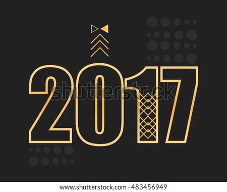 2017 new year modern banner. Geometric simple style with shapes.Vector Illustration