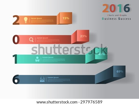 2016 new year modern business steps to success charts and graphs options banner. Vector illustration modern design template  - stock vector