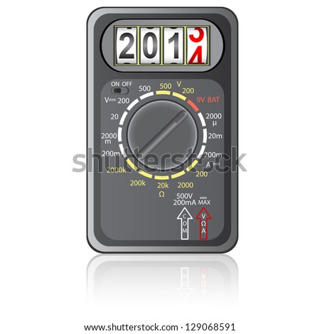 2014 New Year Multimeter  on a white background, vector. - stock vector