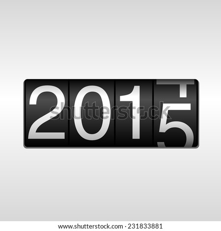2015 New Year Odometer - black numbers rolling from 2014 to 2015, on white background.  EPS8 file. - stock vector