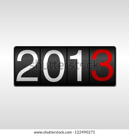 2013 New Year Odometer - New Year 2013 design - odometer style with white background and white and red numbers.  Uses simple gradients. - stock vector