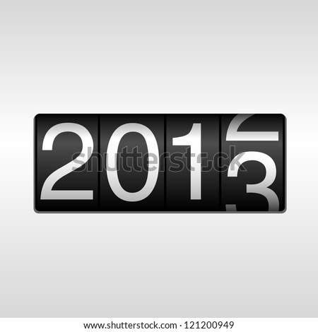 2013 New Year Odometer - New Year 2013 design; odometer style with white background.  Uses simple gradients. - stock vector