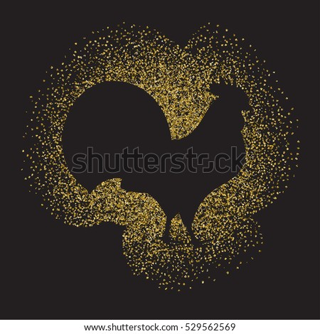 2017 new year of rooster. Rooster silhouette from gold glitter.Vector illustration.