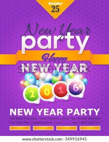 2016 New Year Party Flyer, Poster Vector Design