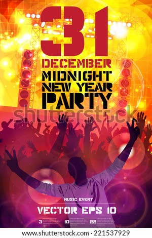 2015 new year party, poster, vector  - stock vector