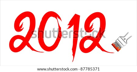 2012 new year - red handwrite brush on the white background