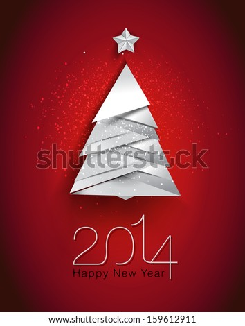 2014 New Year's greeting card with christmas tree/vector illustration/EPS10 - stock vector