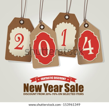 2014 New Year Sale - stock vector