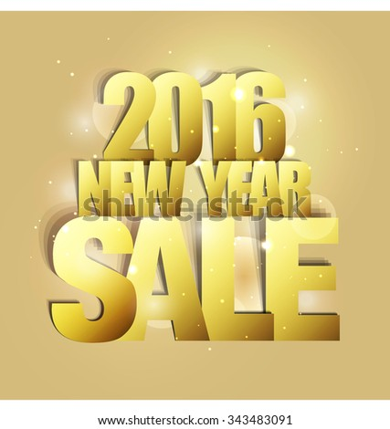 2016 New Year Sale Paper Folding Design - stock vector