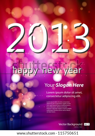 2013 New Year Template - stock vector