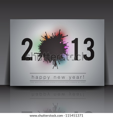 2013 New Year Vector Flyer Template | Editable EPS10 Design - stock vector
