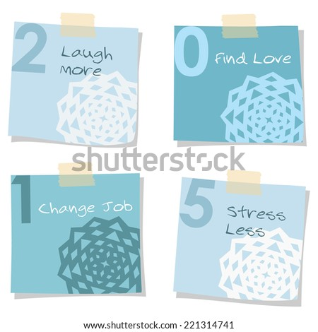 2015 new years resolutions self improvement notes, greeting card, vector isolated objects - stock vector