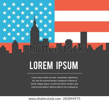 New York City  Skyline on USA Flag background - stock vector