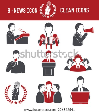 9 News icons on white background,red version,clean vector - stock vector