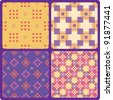4 nice pixel seamless patterns - stock vector