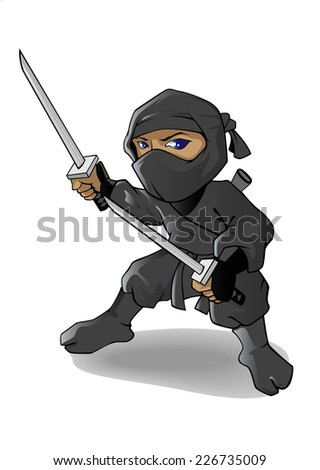 Ninja Mascot or cartoon character ready to fight handle two swords - stock vector