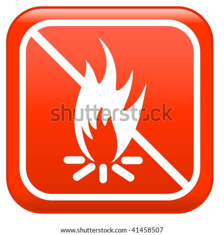 """No camp-fire, sign :""""don't fire"""" - stock vector"""