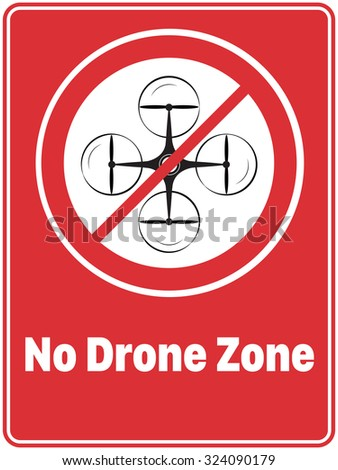'No Drone Zone' Poster - stock vector