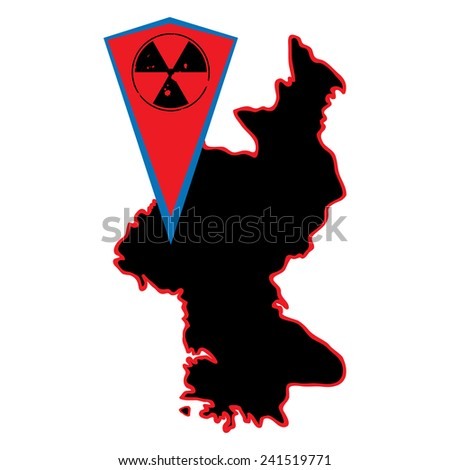 North Korea map and radioactive marker for map. Nuclear tests in North Korea. - stock vector