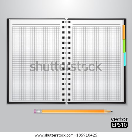 Notebook with sheets in a cage and yellow pencil.  - stock vector