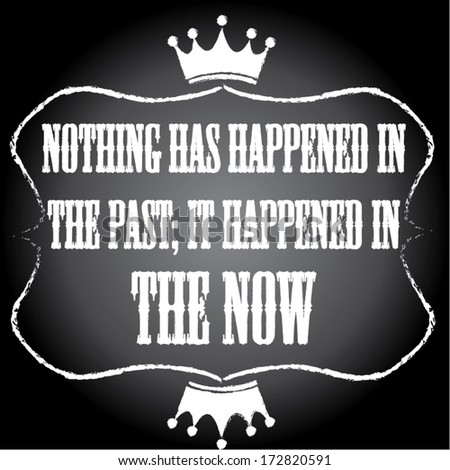 nothing has happened in the past it happened in the now words chalkboard background concept. vector illustration - stock vector