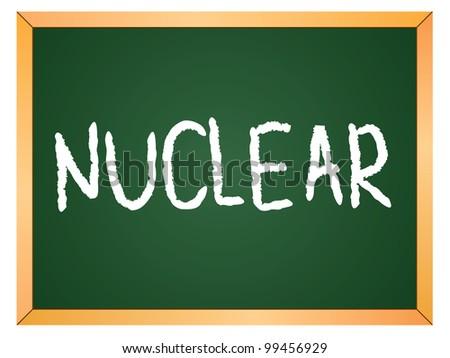 """""""nuclear"""" word written on chalkboard - stock vector"""