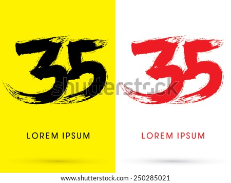 35 ,Number,Chinese brush grunge font ,designed using black and red brush handwriting, logo, symbol, icon, graphic, vector.