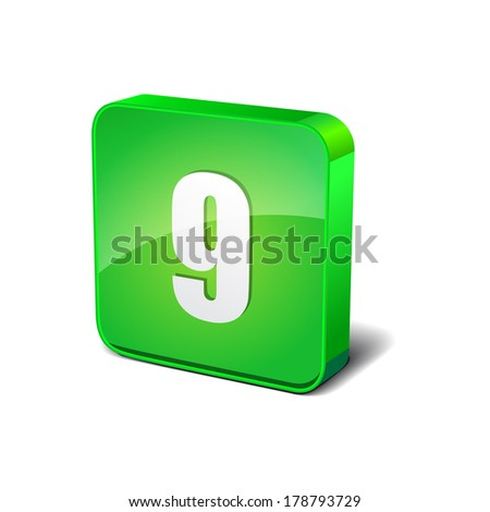 9 Number 3d Rounded Corner Green Vector Icon Button