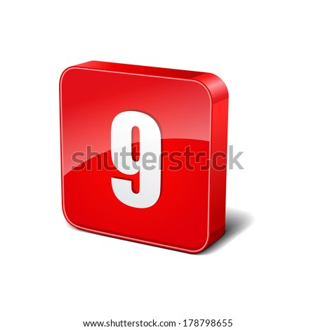 9 Number 3d Rounded Corner Red Vector Icon Button