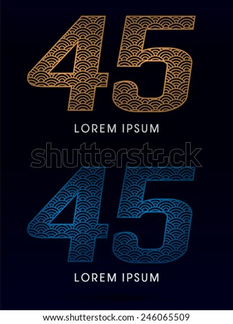 45 Number ,Luxury font ,designed using gold and blue line, concept shape from water, river, sea, ocean, fish scale, logo, symbol, icon, graphic, vector. - stock vector