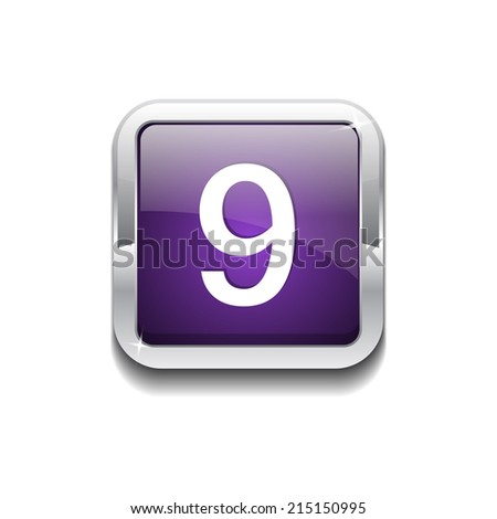 9 Number Rounded Corner Vector Purple Web Icon Button