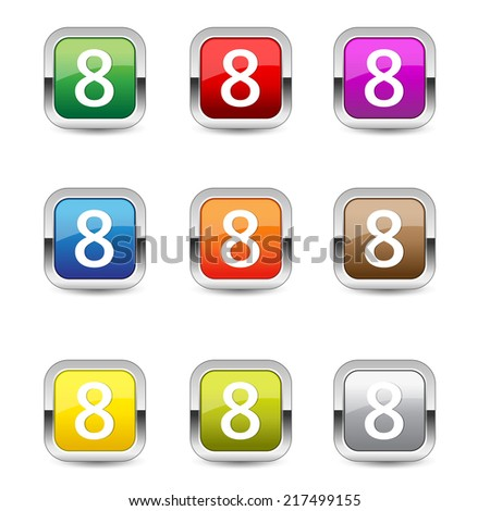 8 Number Square Vector Blue Web Icon Set Button
