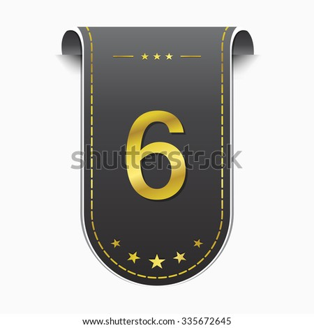 6 Number Vector golden Web Icon - stock vector