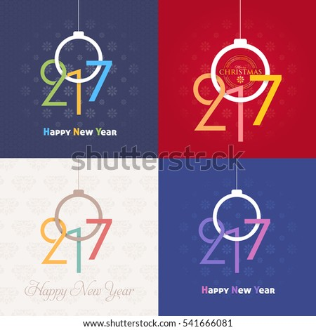 2017 Numbers Concept Happy New Year Celebration Design Collection, Christmas Greeting Card Illustration, Vector Colorful Set