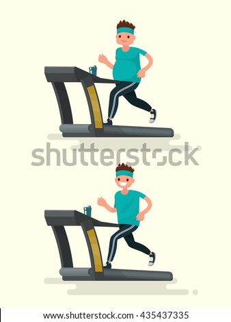 Obese man running on a treadmill and he  after slimming. Vector illustration of a flat design - stock vector