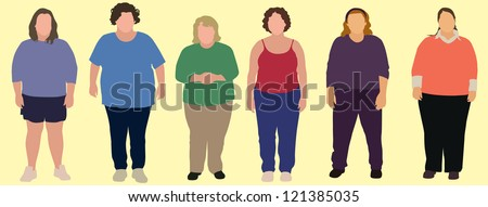 6 Obese Women - stock vector