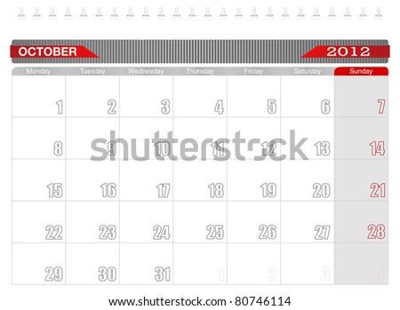 2012 October-Planning Calendar, Week starts on Monday. - stock vector