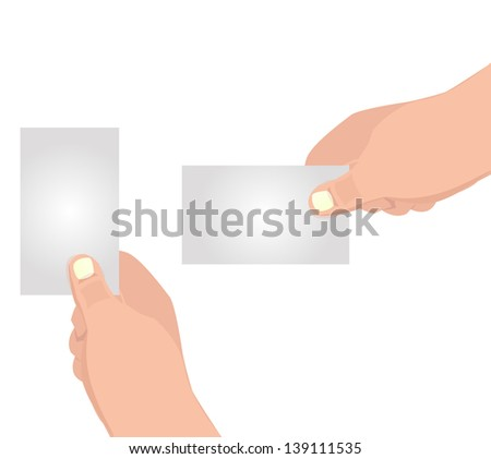 2 of Hand hold blank business card  set
