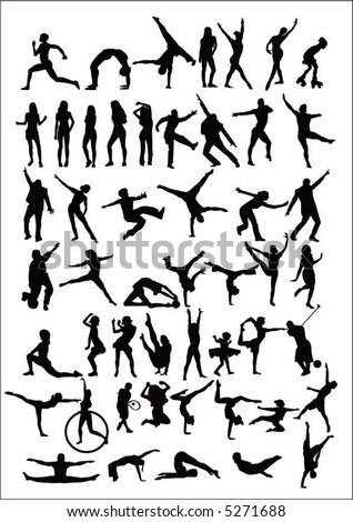 50 of people silhouettes - stock vector