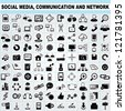 100 of social media, network communication icons set, vector - stock photo
