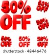 50% off Discount sale sign. 3D vector illustration. AI8 compatible. - stock photo